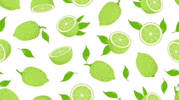 감귤류 패턴. 라임 조각, 신선한 육즙 레몬 과일. 격리 된 채식주의 비타민 녹색 식품 벡터 원활한 텍스처