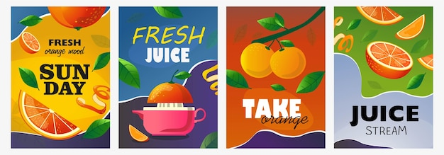 Citrus posters set. whole and cut fruits, orange tree branch vector illustrations with text. food and drink concept for fresh bar flyers and brochures design