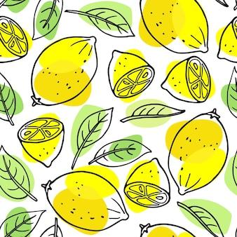 Цитрусовые бесшовные модели лимона и листья цитрусовых рисованной вектор каракули эскиз