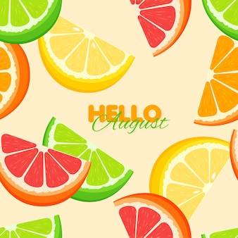 Цитрусовые бесшовные модели летний шаблон с апельсином, лимоном, лаймом