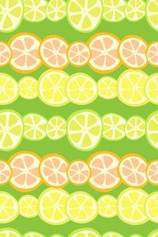 オレンジレモンとグレープフルーツの柑橘類のシームレスな縞模様の幾何学的なシームレスパターン