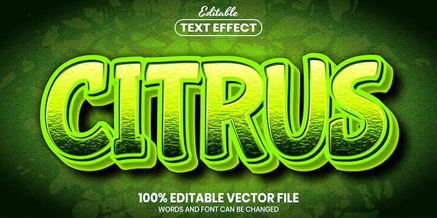 Citrus text, font style editable text effect