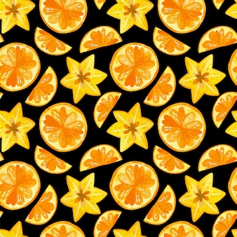 Citruses and carambola watercolor seamless pattern