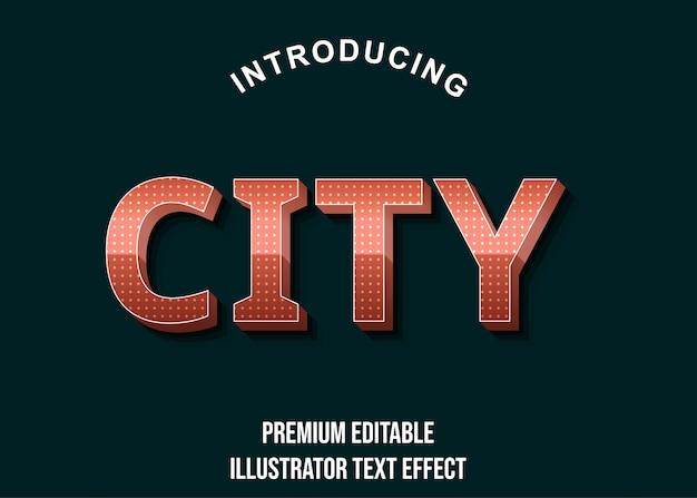 City - стиль текста с эффектом розового золота 3d