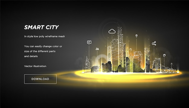 City of the abstract low poly wireframe on dark banner template