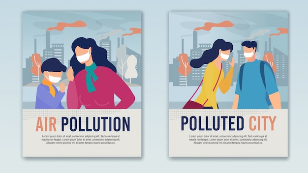 City air pollution problem cartoon banner set