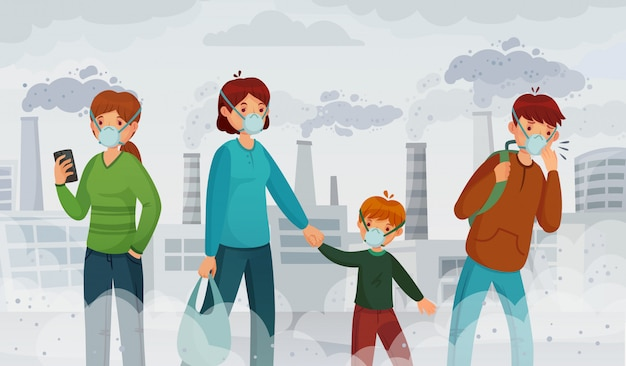 City air pollution. smog pollutants, suffocation environment and passer in breathing masks illustration