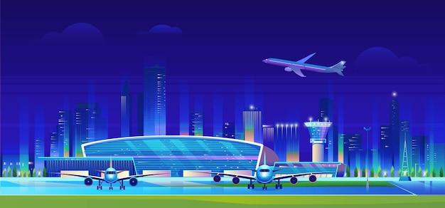 Городской аэропорт ночью иллюстрации.