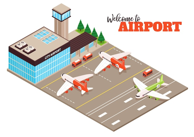 City airport terminal aerodrome outdoor facility isometric composition with airfield aircraft buses runway landing plane