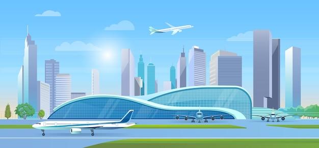 도시 공항 벡터 일러스트입니다. 만화 평면 공항 터미널 현대 창조적 인 건물