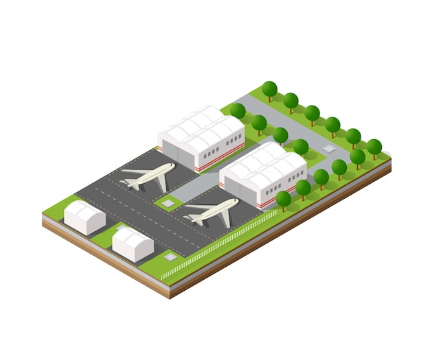 City airport with transport