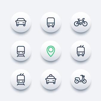 都市と公共交通機関の近代的なアイコン、公共交通機関のベクトルのアイコン、バス、地下鉄、タクシー、公共交通機関のピクトグラム、太線のアイコンセット