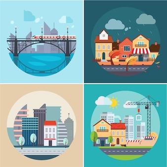 都市と町の風景、建物