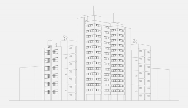 City architecture apartment building block with tower and skyscraper linear sketch vector illustration