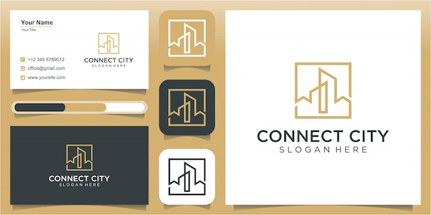 City and art line logo design template, construction logo design template