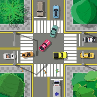 City asphalt crossroad with marking, walkways. roundabout road junction. traffic regulations. rules of the road.