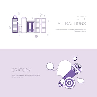 City attractions and oratory concept template banner