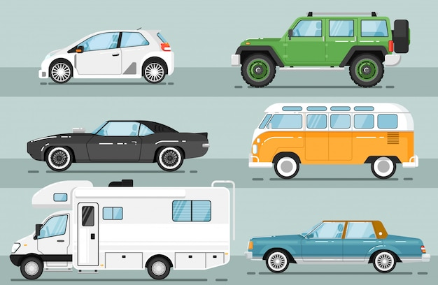 City auto vehicle isolated  set