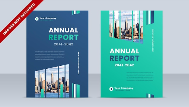 City background business book cover design template with blue and green gradient color theme