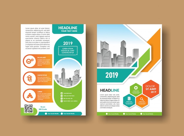 City background business book leaflet cover design