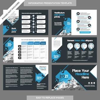 Презентация бизнес-презентации города с шаблоном инфографики.
