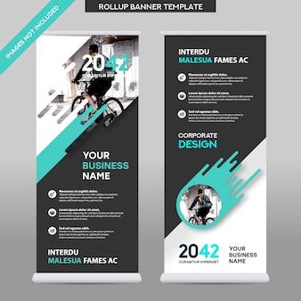 都市の背景ビジネスロールアップデザインtemplate.flagバナーデザイン。パンフレット、年次報告書、雑誌、ポスター、企業プレゼンテーション、チラシ、ウェブサイトに適応できます