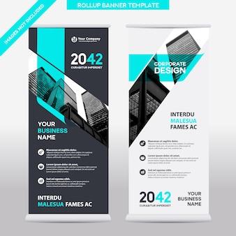都市の背景ビジネスロールアップデザインtemplate.flagバナーデザイン。