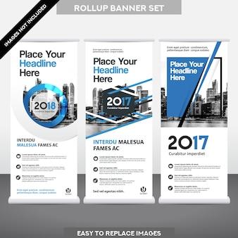 도시 배경 비즈니스 롤 최대 깃발 배너 디자인 서식 파일 설정.