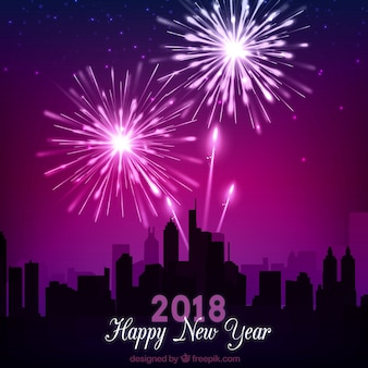 City background celebrating 2018