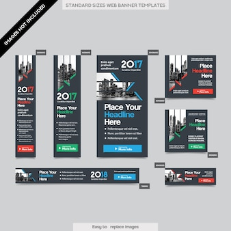 여러 크기의 도시 배경 기업 웹 배너 템플릿. 브로셔, 연례 보고서, 잡지, 포스터, 기업 광고 매체, 전단지, 웹 사이트에 쉽게 적응할 수 있습니다.