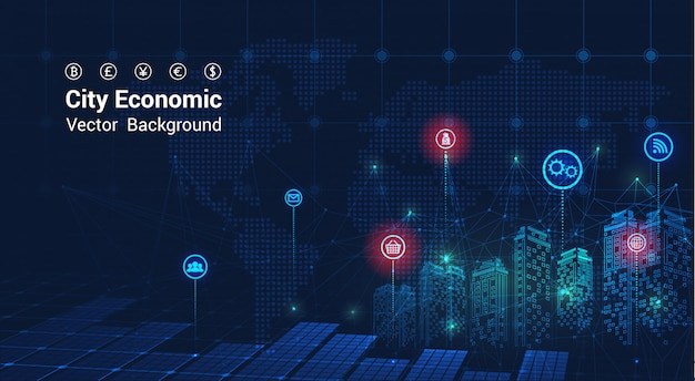 City background financial graph on night city scape with tall buildings background double exposure. economic growth graph chart.