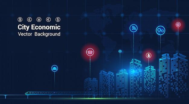 都市の背景背の高い建物の背景の二重露光と夜の都市景観の財務グラフ。経済成長グラフ。