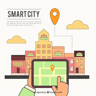 City background in linear style with gps