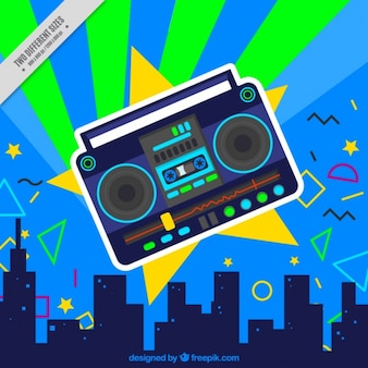 City background and radio cassette