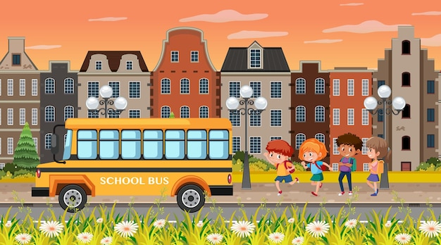 City background scene with children going to the school bus