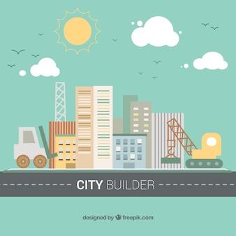 フラットデザインのクレーンやショベルと都市の背景