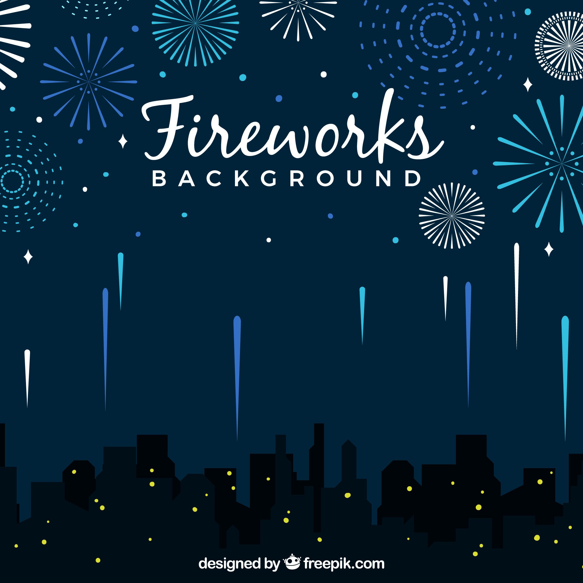 City background with fireworks
