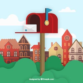 Город фон с красным почтовым ящиком и конверт