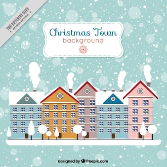 City background with snowy houses in flat design
