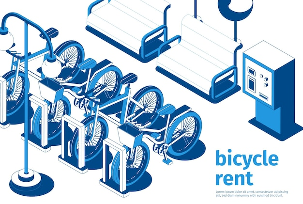 City bicycle rent service spot with parked bikes and benches of white and blue color isometric