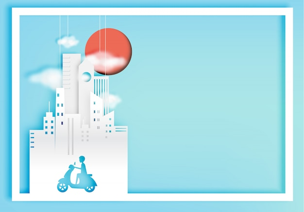 City bike paper art style with city background vector illustration