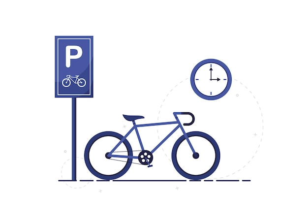 City bike parking zone with road sign in flat design