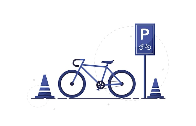 フラットなデザインの道路標識のあるシティバイク駐車場