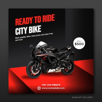 City bike rental promotion social media cover banner on red podium template