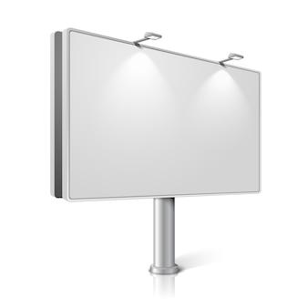 Городской рекламный щит с лампами, изолированные на белом фоне с отражениями. с местом для вашего дизайна и брендинга.