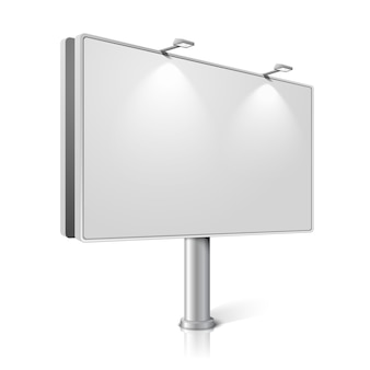 City billboard with lamps, isolated on white background with reflections. with place for your design and branding.