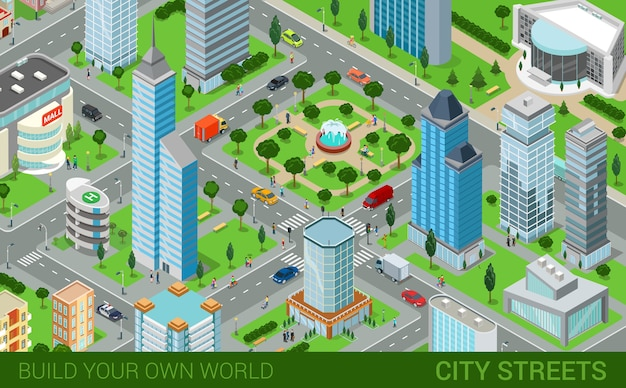 City block streets transport blocks concept modern trendy flat d isometric infographics street buildings cars vans ice cream square park fountain business center park build your own world
