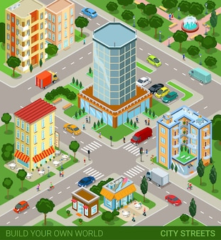 City block streets transport inhabitants vector illustration.