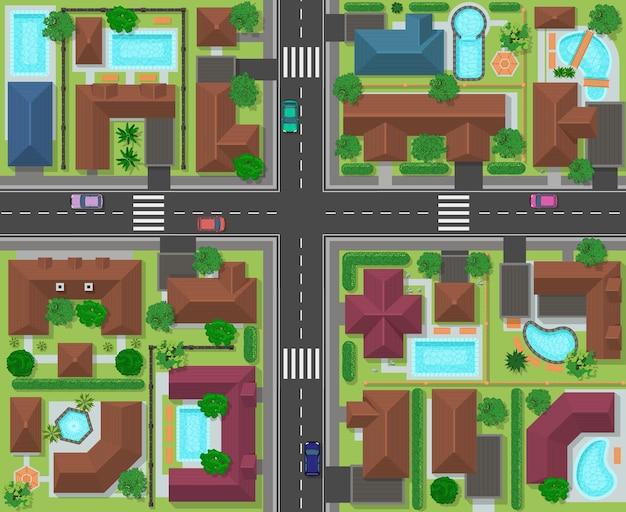 街区の上面図。家、庭園、木々や道路、街の風景と町の通りのパノラマ