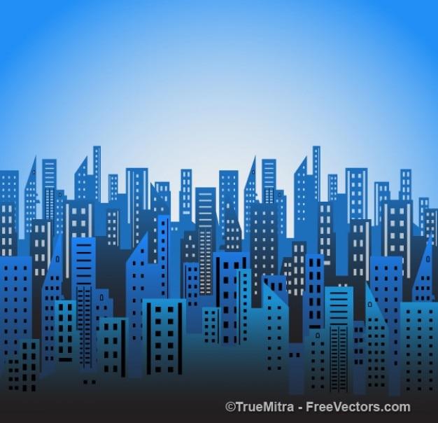 City blue skylines vector